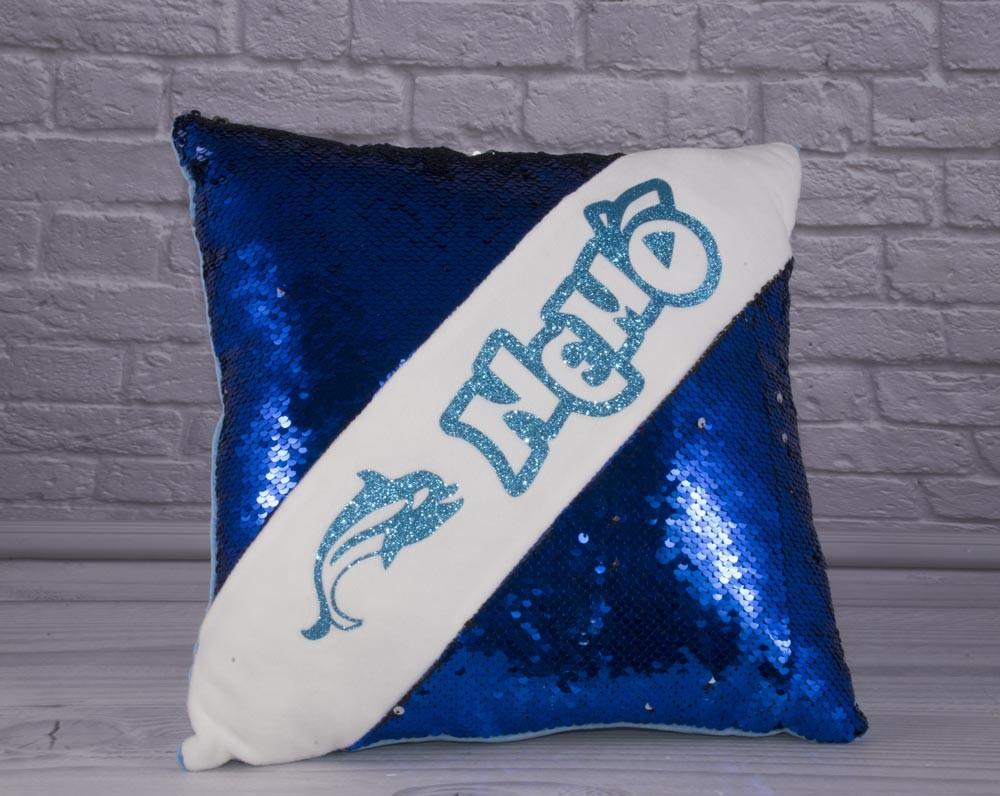 Мягкая подушка с пайетками